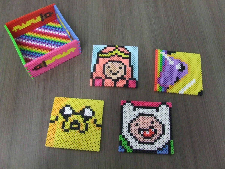 643461d2455d Adventure Time Perler Bead Coaster Set by KezCreations