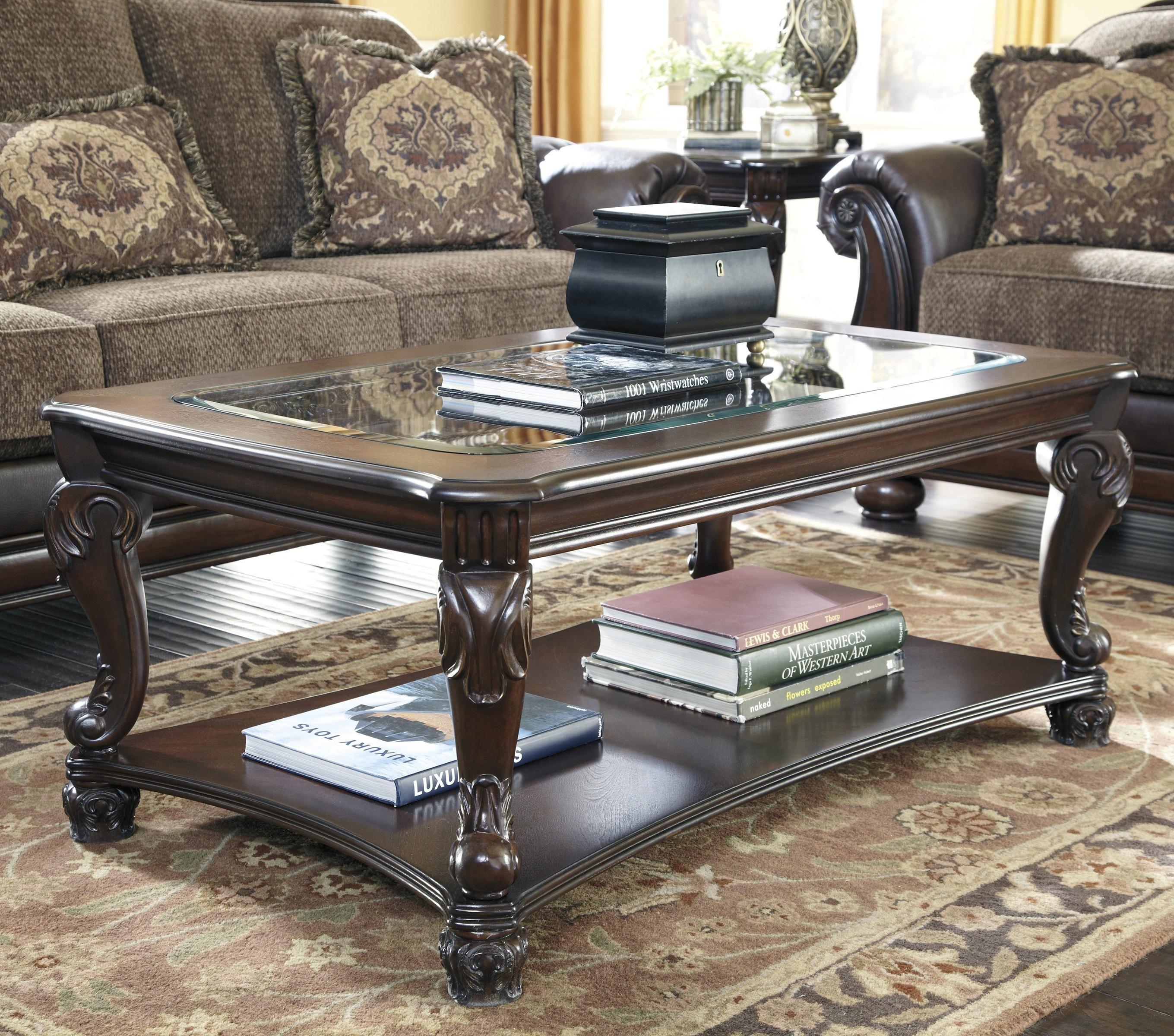 Traditional Coffee Table Set 3 Pcs In Brown Wood Traditional Style Homey Design Hd 1521 Victorian Living Room Furniture Mahogany Coffee Table Traditional Coffee Table