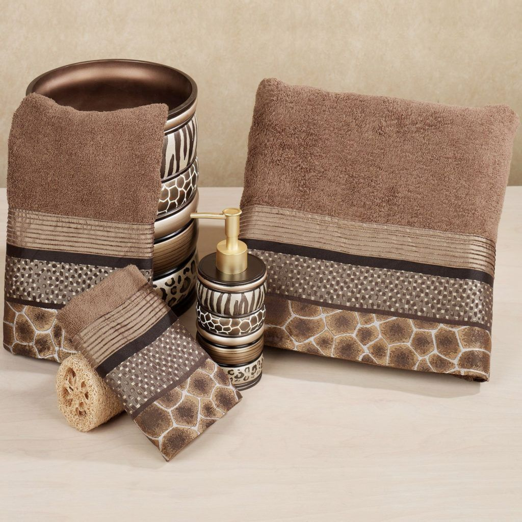 Leopard Print Bath Towels Accessories Animal Print Bathroom Striped Bath Towels Decorative Bath Towels
