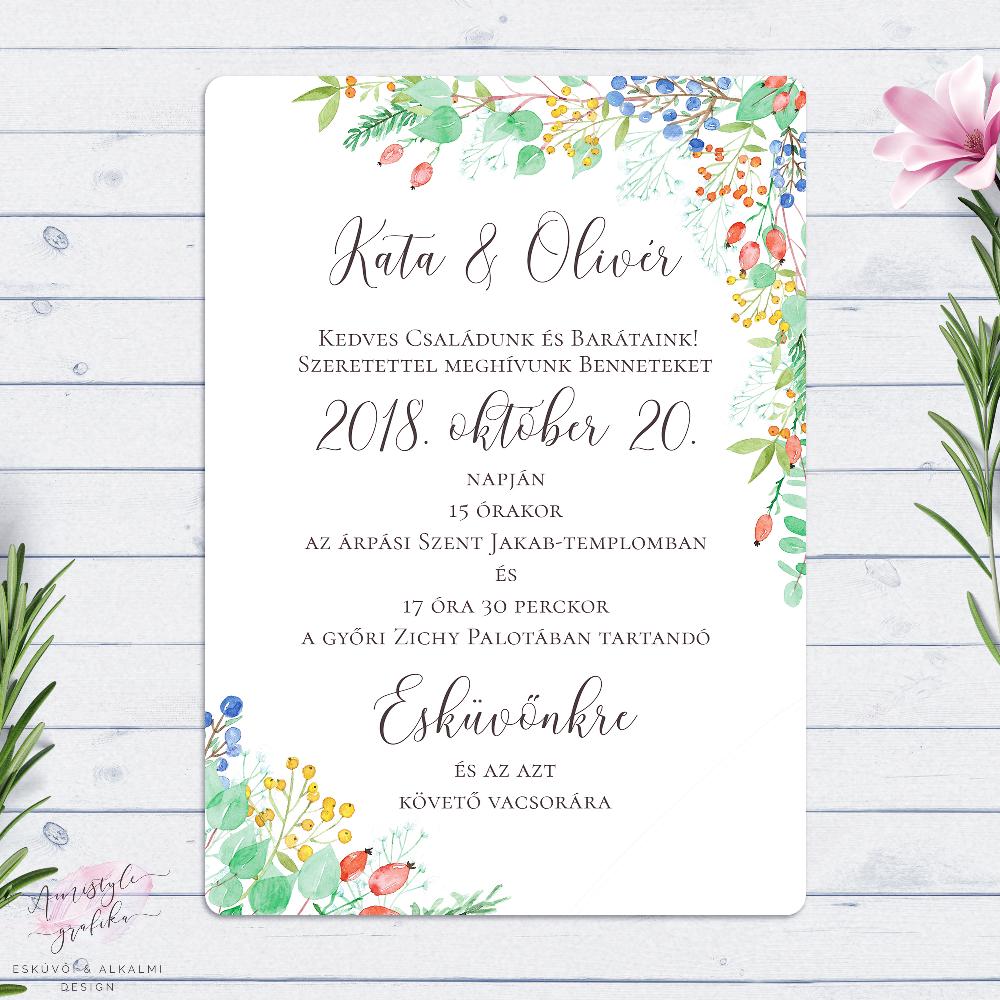65ec162f13 Őszi Bogyós Festett Esküvői Meghívó | Amistyle Grafika in 2019 | Design