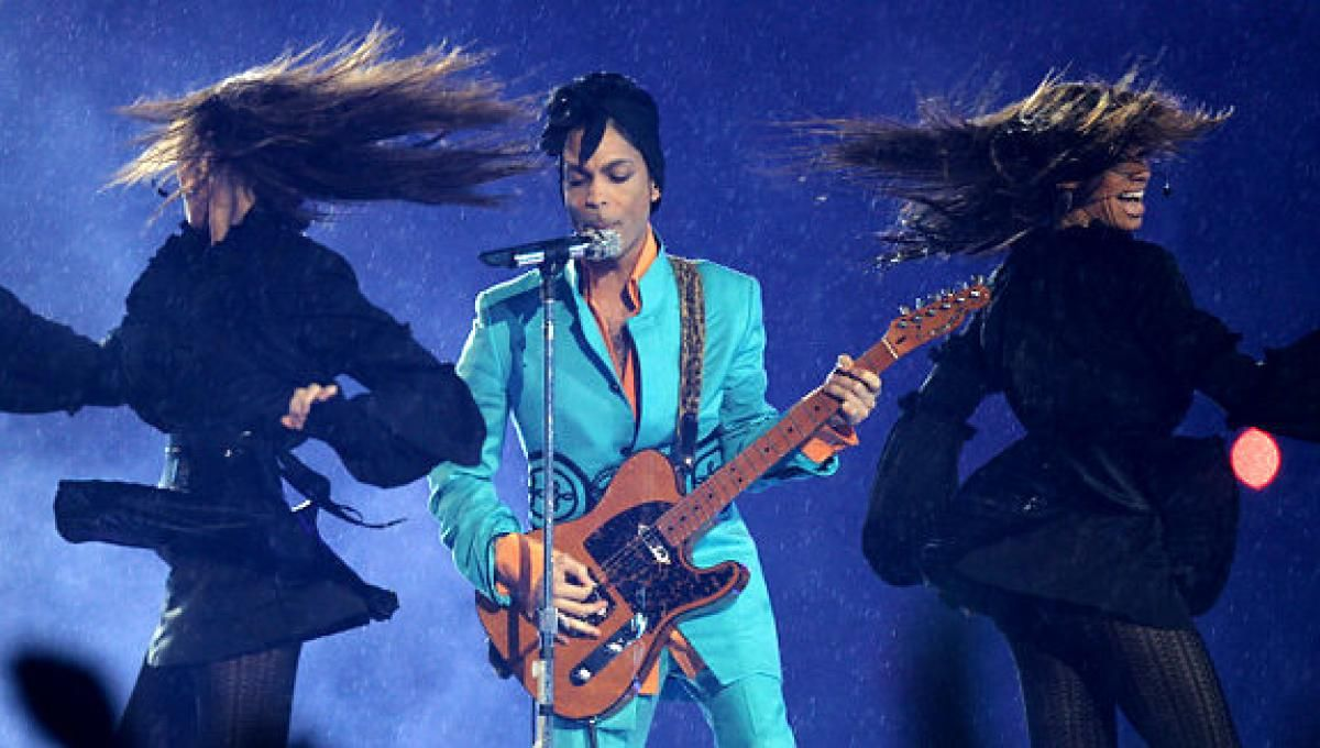 Prince at Super Bowl XLI in 2007, where he gave perhaps the best halftime performance ever.