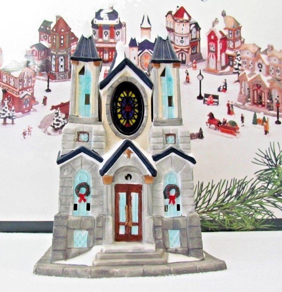 Kirkland Christmas Victorian Village Porcelain Church Cathedral Building Victorian Village Kirklands Christmas Christmas Village Lights