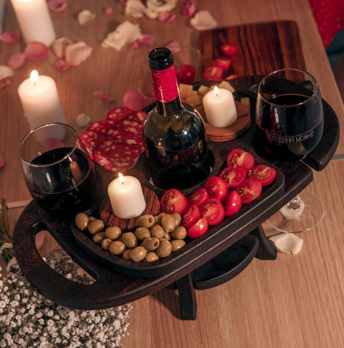 Wooden Thermo Ash Wine Caddy For Kitchen Living Room Bedroom By Creedwood Wood Kitchen Accessories For Wine In 2020 Gifts For Wine Lovers Breakfast Picnic Wine Tray