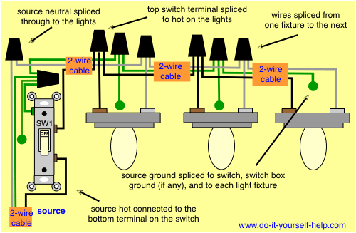 Electrical Wiring Diagram Three Lights One Switch Light Switch Wiring Home Electrical Wiring Electrical Wiring