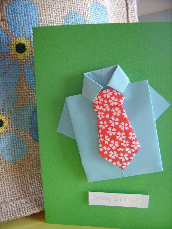 Cute Origami Shirt And Tie Boy Man Birthday Card By Tickledrainbow 3 00 Birthday Cards For Men Cute Origami Origami Shirt