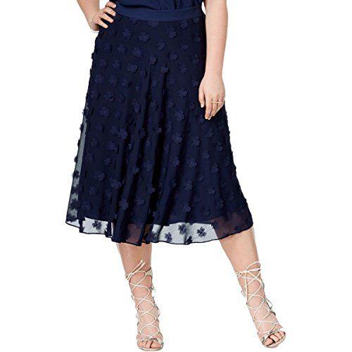 1a286d2c671da Rachel Rachel Roy Womens Plus Floral Patch Chiffon ALine Skirt Navy 14W      Read more at the image link.  WomensSkirts