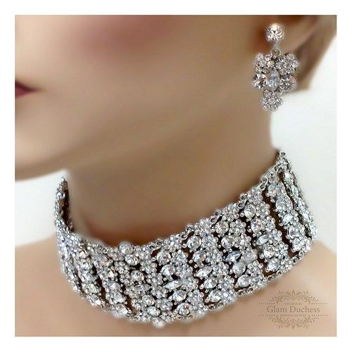 Bridal choker statement necklace earrings, vintage inspired crystal ...