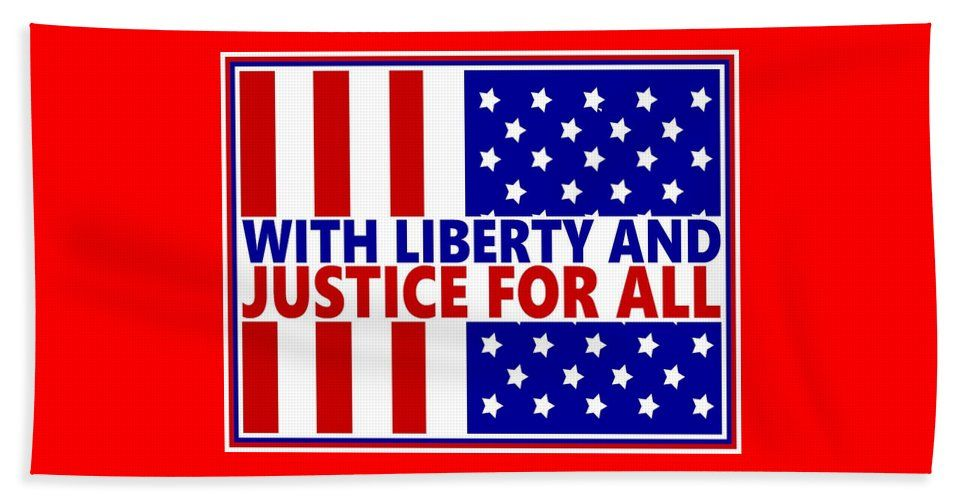 Stars And Stripes Beach Towel Featuring The Painting With Liberty