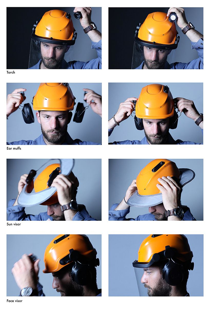 jaehoon jung's helmet allows workers to place accessories