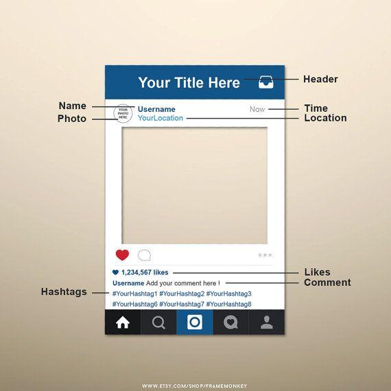 PDF Instagram Style Frame Photo Prop, Instagram Sign ...