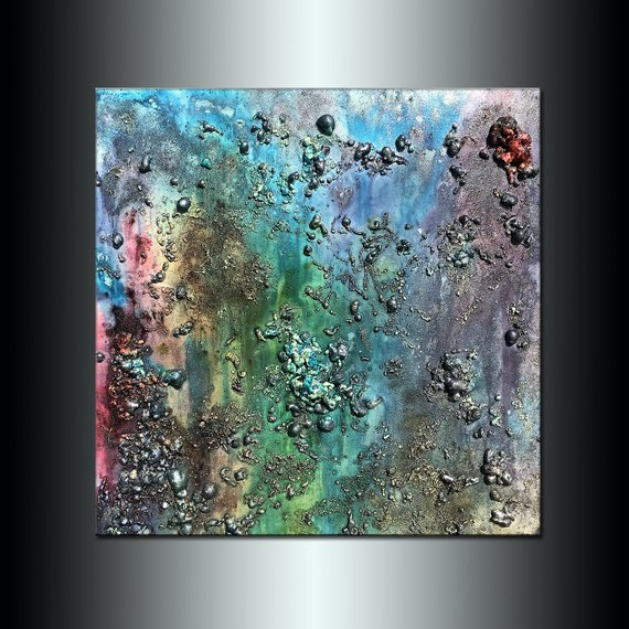Large Texture Abstract Painting Grey Blue Green Red
