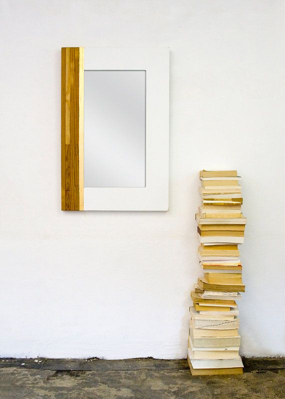 Reclaimed Wood Mirror with Gold Leaf Accent and White Frame | Home ...