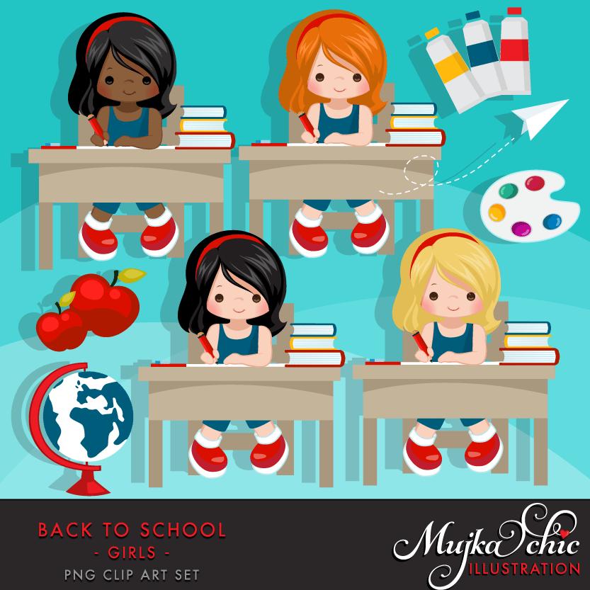 Http Mygrafico Com Wp Content Uploads 2016 10 Back To School Clipart Girls 02 Png Dia Da Crianca Mural Escola Boneca Jolie
