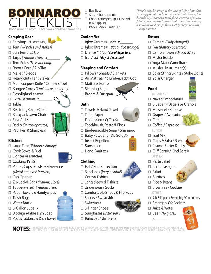 Checklist  Equipment  Food For Bonnaroo  I Love Bonnaroo