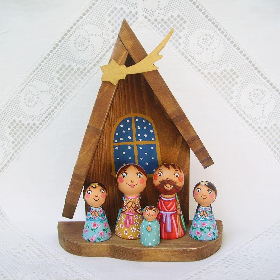 Baptism Blue Child Of God Customizable Snowflake Pewter: Christmas Nativity Set Holy Family Painted Wooden Scene