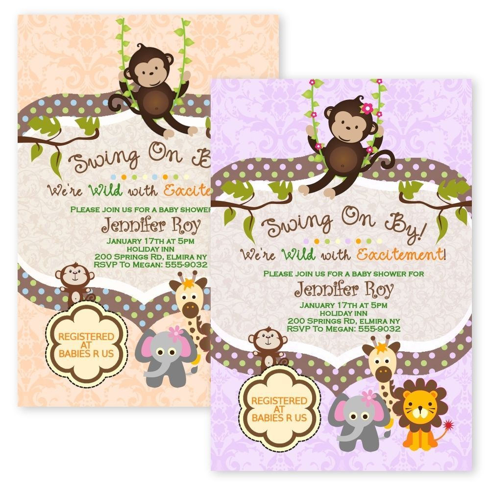 Safari Jungle Baby Shower Invitations Swinging Monkey Giraffe Lion ...