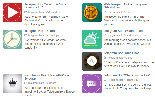 The most useful telegram bots are collected on WebTelegram