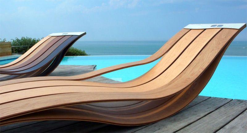meubles de jardin design relax- bains de soleil en bois par Pooz design