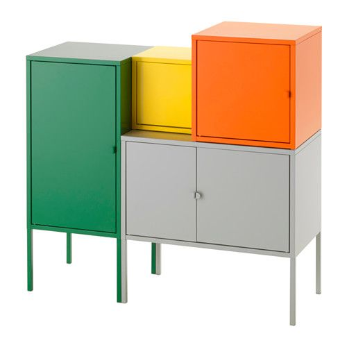 Ikea Yellow Kitchen Cabinets: LIXHULT Storage Combination, Gray/white, Orange/red