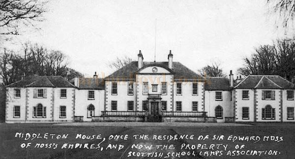 A postcard view of Sir Edward Moss`s residence of Middleton House, Gorebridge - Courtesy Phil Wilson and Peter Stubbs, Edinphoto.