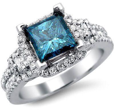 2.04ct Blue Princess Cut Diamond Engagement Ring 18k White Gold