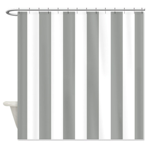 Vertical Striped Custom Shower CurtainGrey And White Stripes OR - Gray and white striped shower curtain