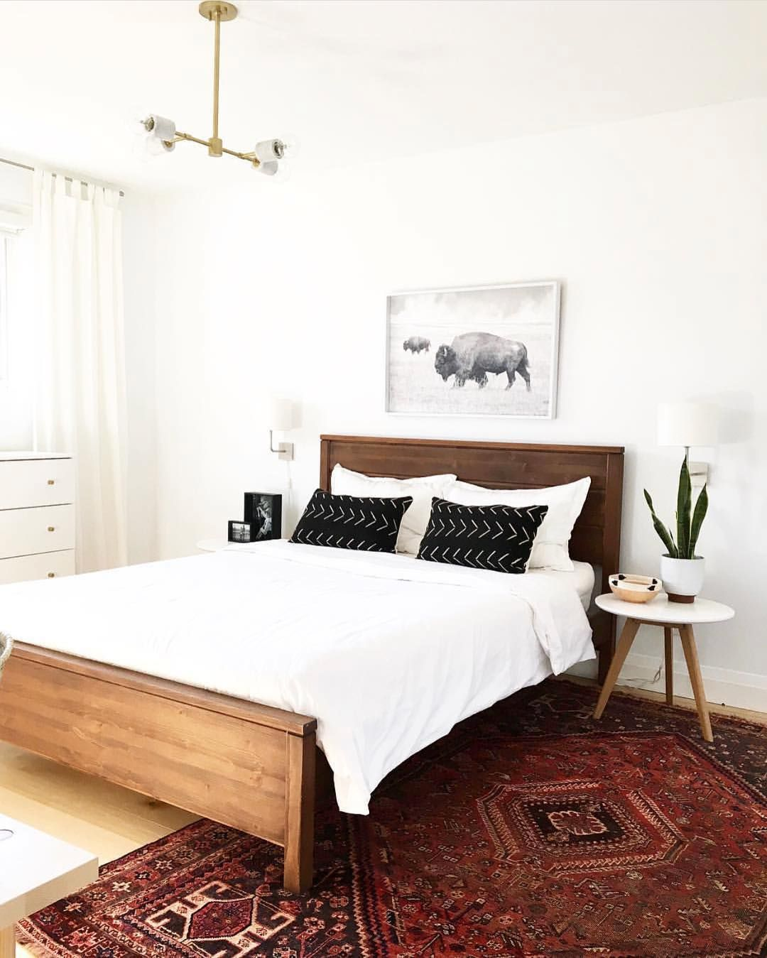 Bedroom | White Decor with Beautiful Red Persian Rug ...