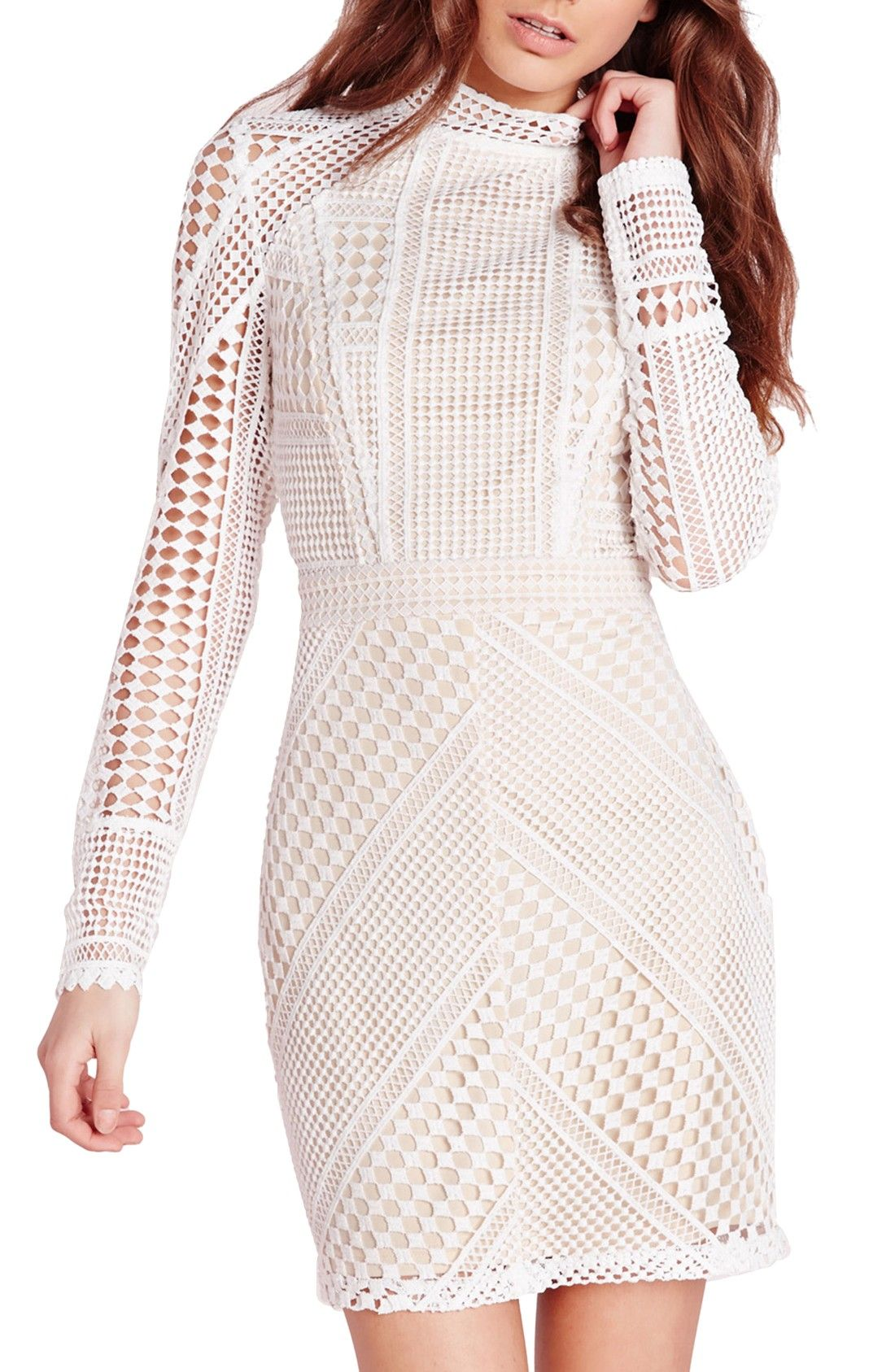 1e3d7705cf5 Free shipping and returns on Missguided Geometric Lace Body-Con Dress at  Nordstrom.com