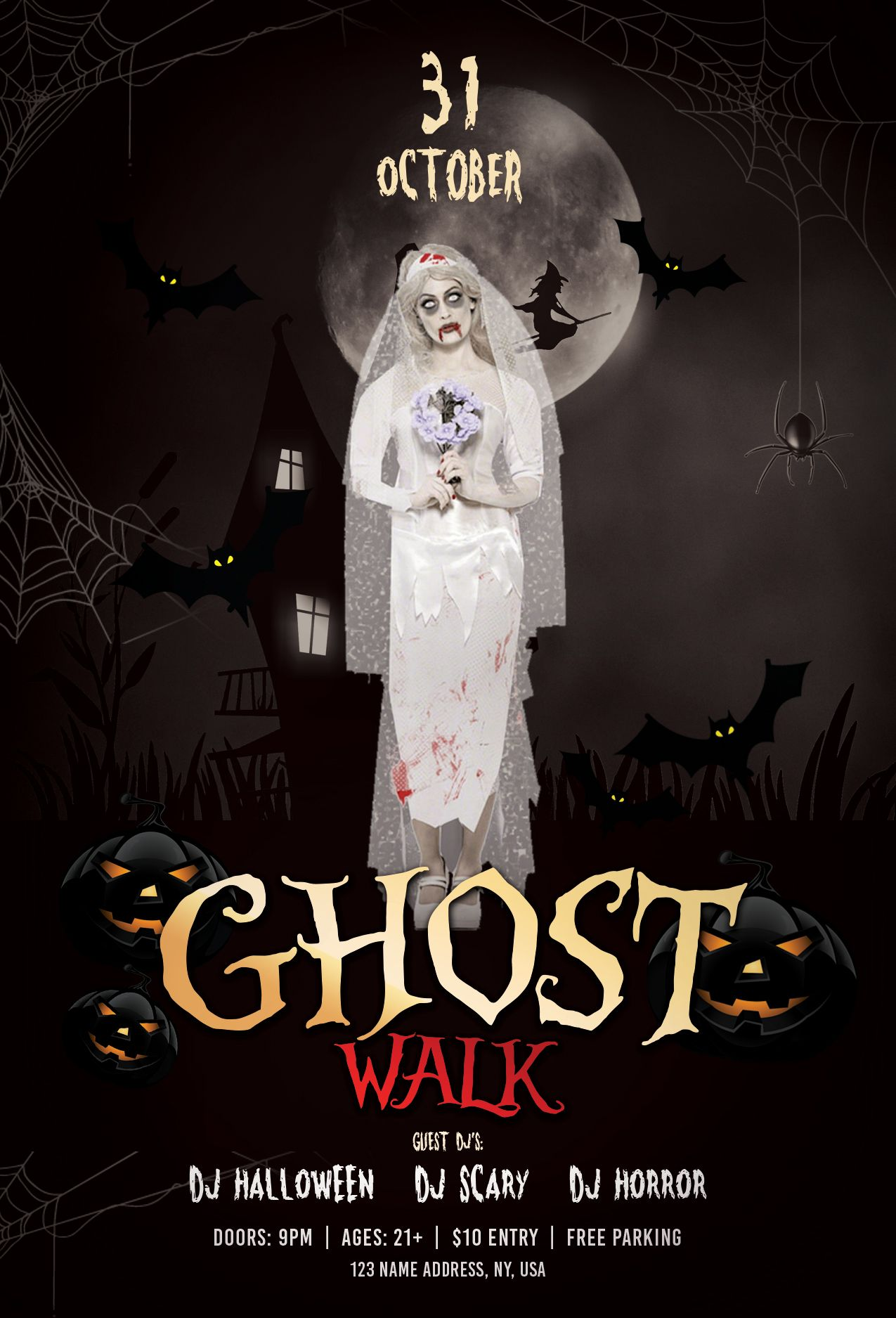 Ghost Walk Halloween Free Psd Flyer Template Halloween Ghost
