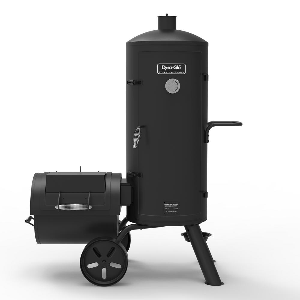 Dyna Glo Signature Series Heavy Duty Vertical Offset Charcoal Smoker And Grill In Black