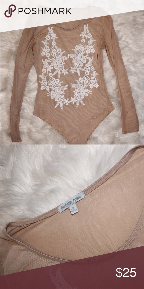 b888842f3d687e Nude mesh bodysuit with white floral embroidery Perfect for going out.  Either use pasties or a nude bra Charlotte Russe Other