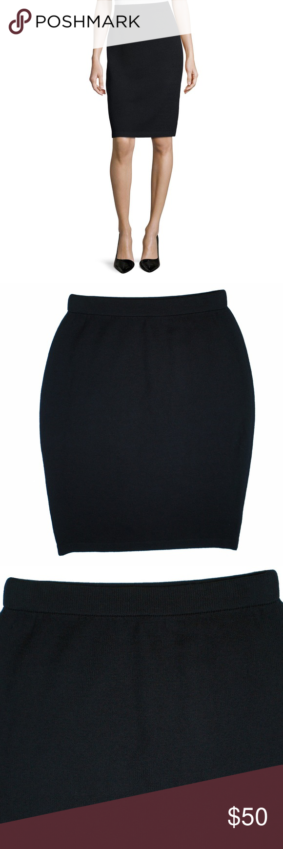 """ST. JOHN Black Santana Knit Pencil Skirt Mint condition! This black Santana knit pencil skirt from St John features an elastic banded waist and is unlined. Measures: waist (stretches) 26-32"""", hips: 38"""", total length: 23"""" St. John Skirts Pencil"""