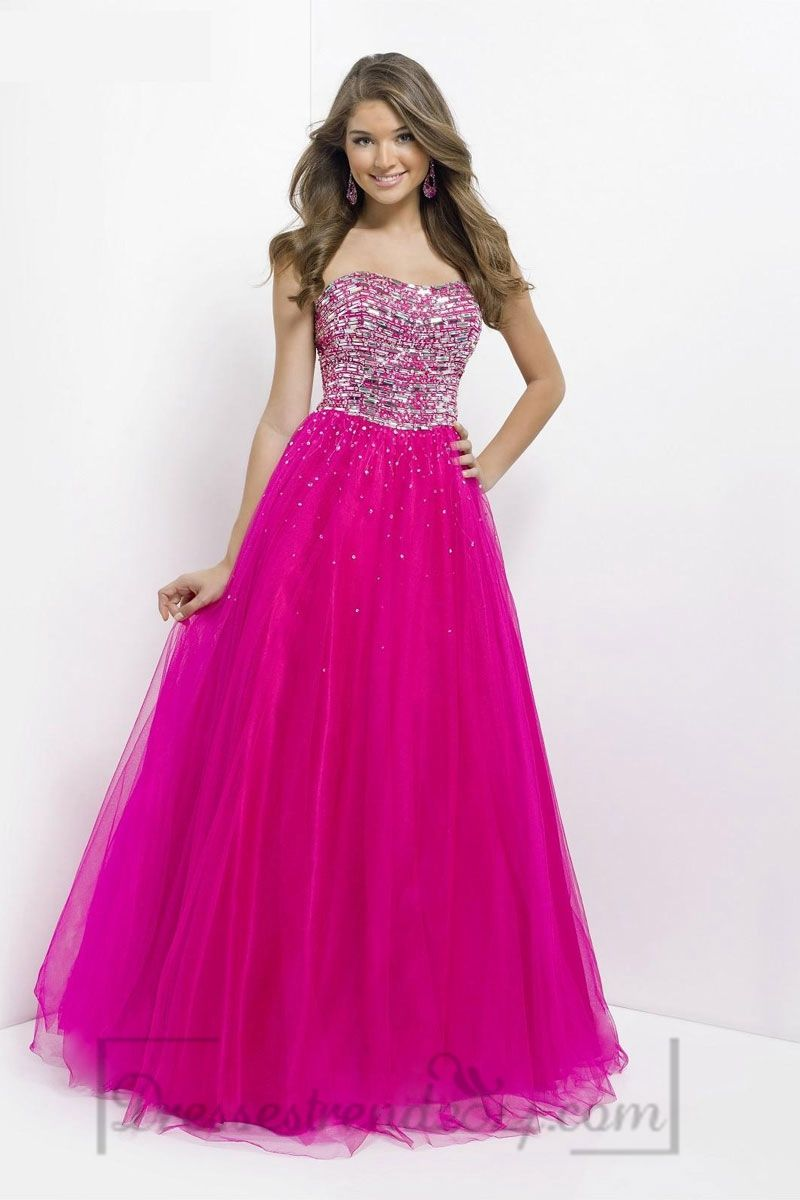 Ball Gown Tulle Long Lace-up Natural Waist Strapless Prom Dress