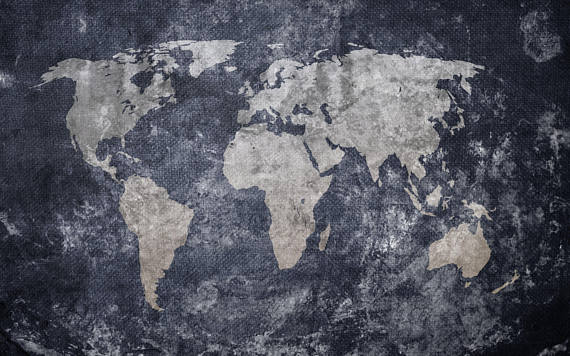 Vintage Old World Map, Self adhesive, Peel and Stick, 3D