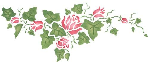Large Rose Ivy Border Wall Stencil