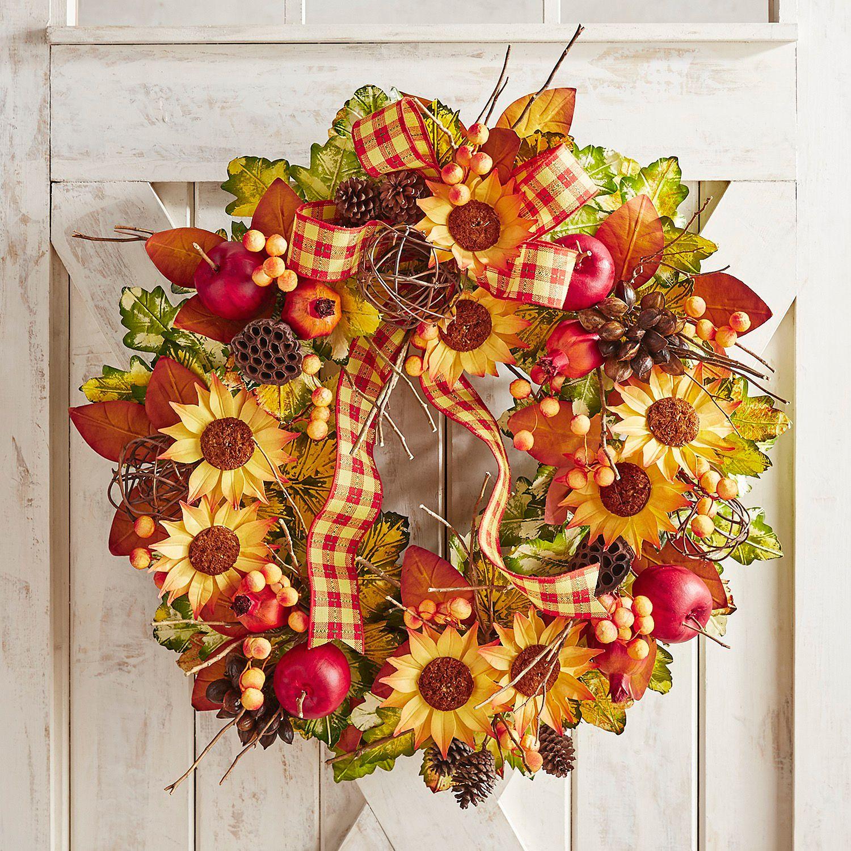 Luxe Faux Sunflower Fruit 30 Oversized Wreath Faux Sunflower Wreaths Fall Thanksgiving Decor