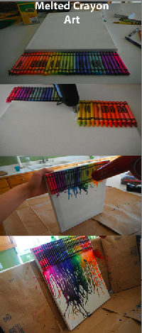 Melted Crayon Art..   cute for childrens playroom So gotta do this also! :)