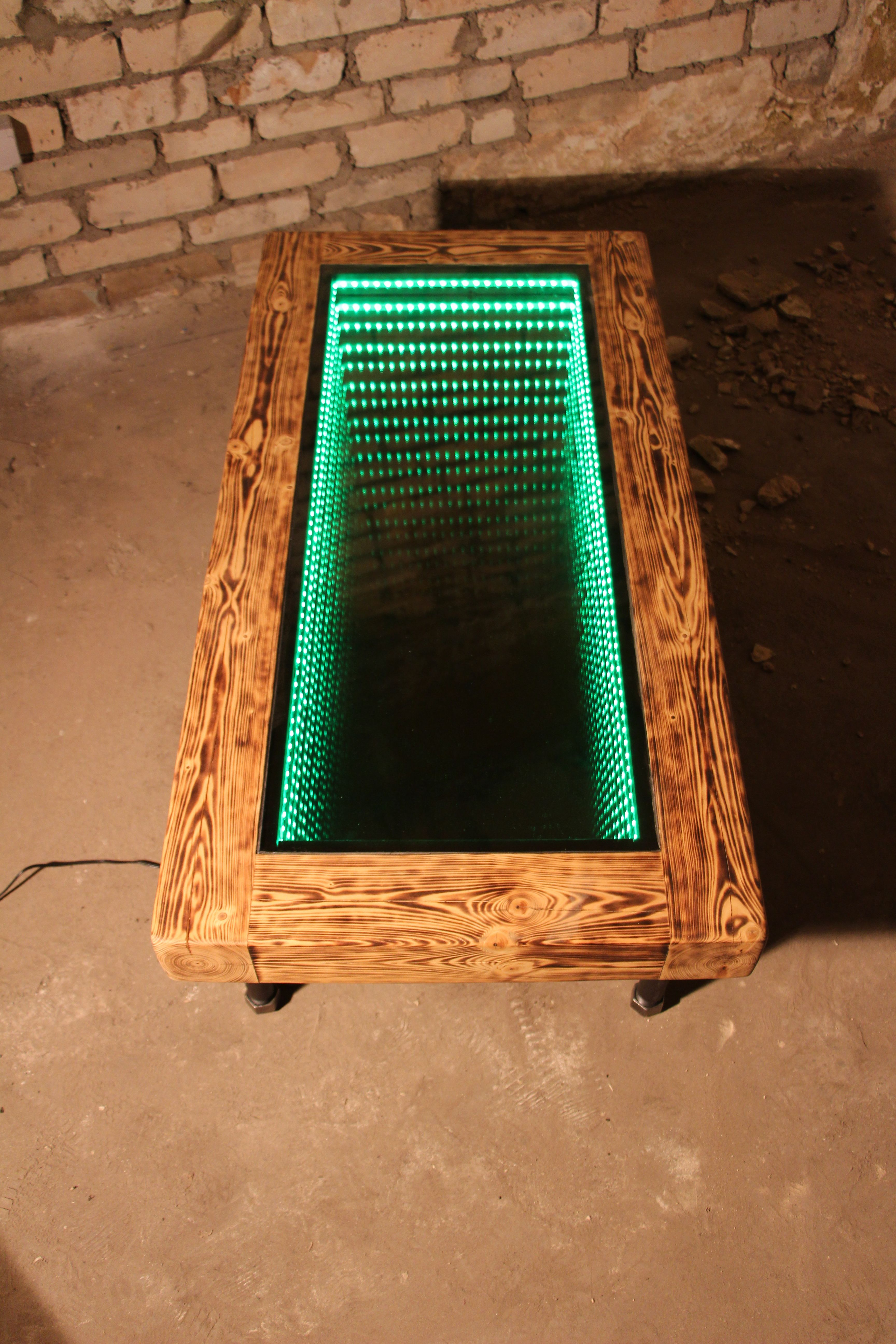 Diy Led Mirror Frame Burned Wood Infinity Table With Pipe Legs Table Design