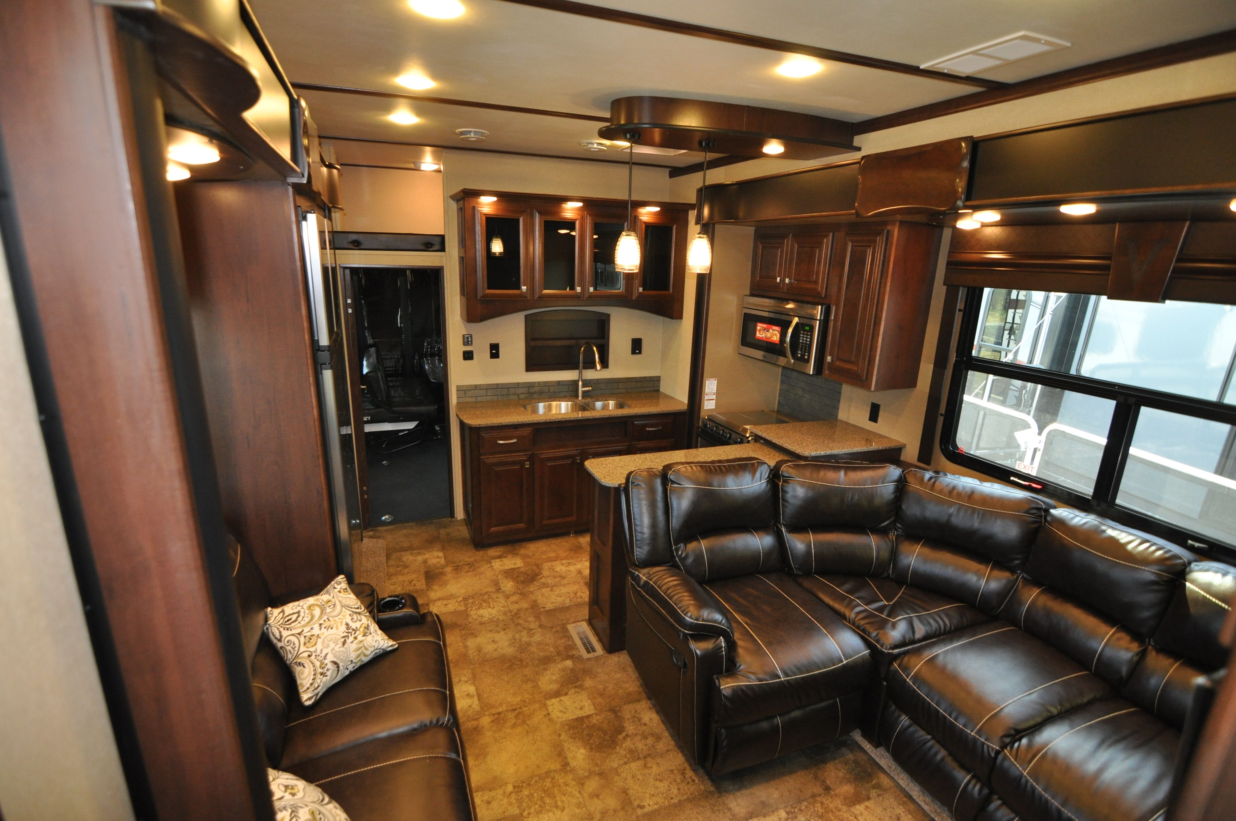 Living area of a 2015 Voltage model 3790 Fifth Wheel Toy Hauler wow
