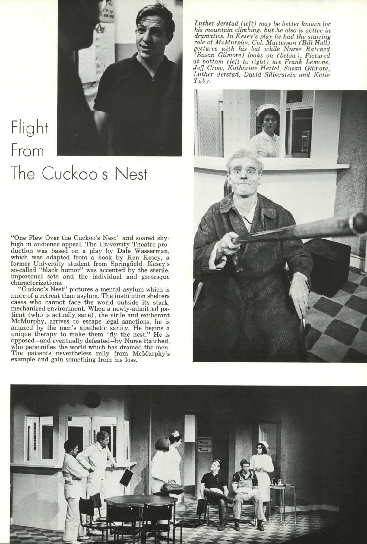 """The play """"Flight From The Cuckoos Nest"""" (based on the book by UO grad Ken Kesey) was performed by students in 1965. From the 1965 Oregana (University of Oregon yearbook). www.CampusAttic.com"""