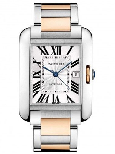 Cartier Tank Anglaise Steel & Rose Gold Mens Watch W5310006