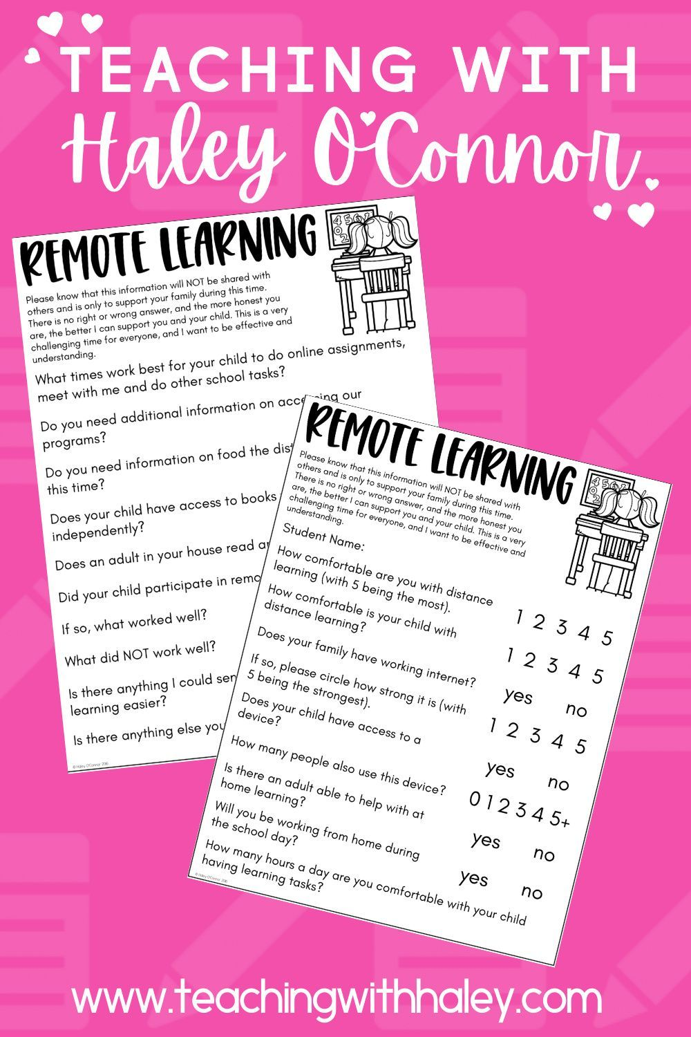 FREE Remote Learning Questionnaire {Printable, Google