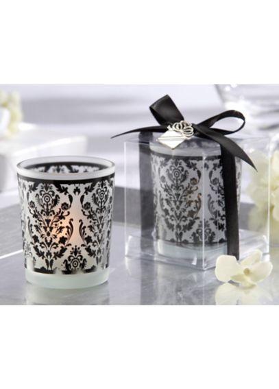 Damask Glass Tea Light Holder - Set of 4    20093BK