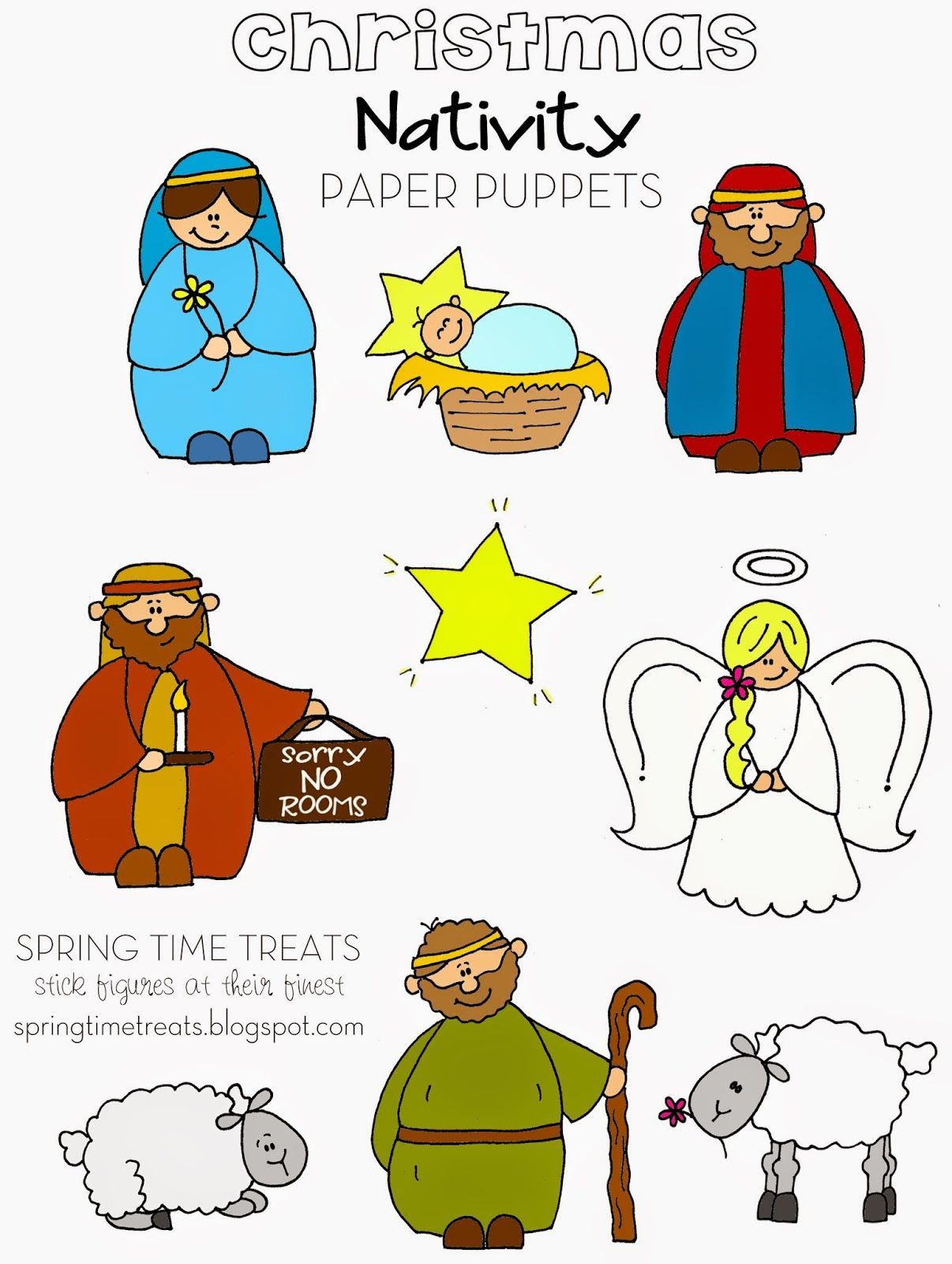 Spring Time Treats Nativity paper puppets FREE