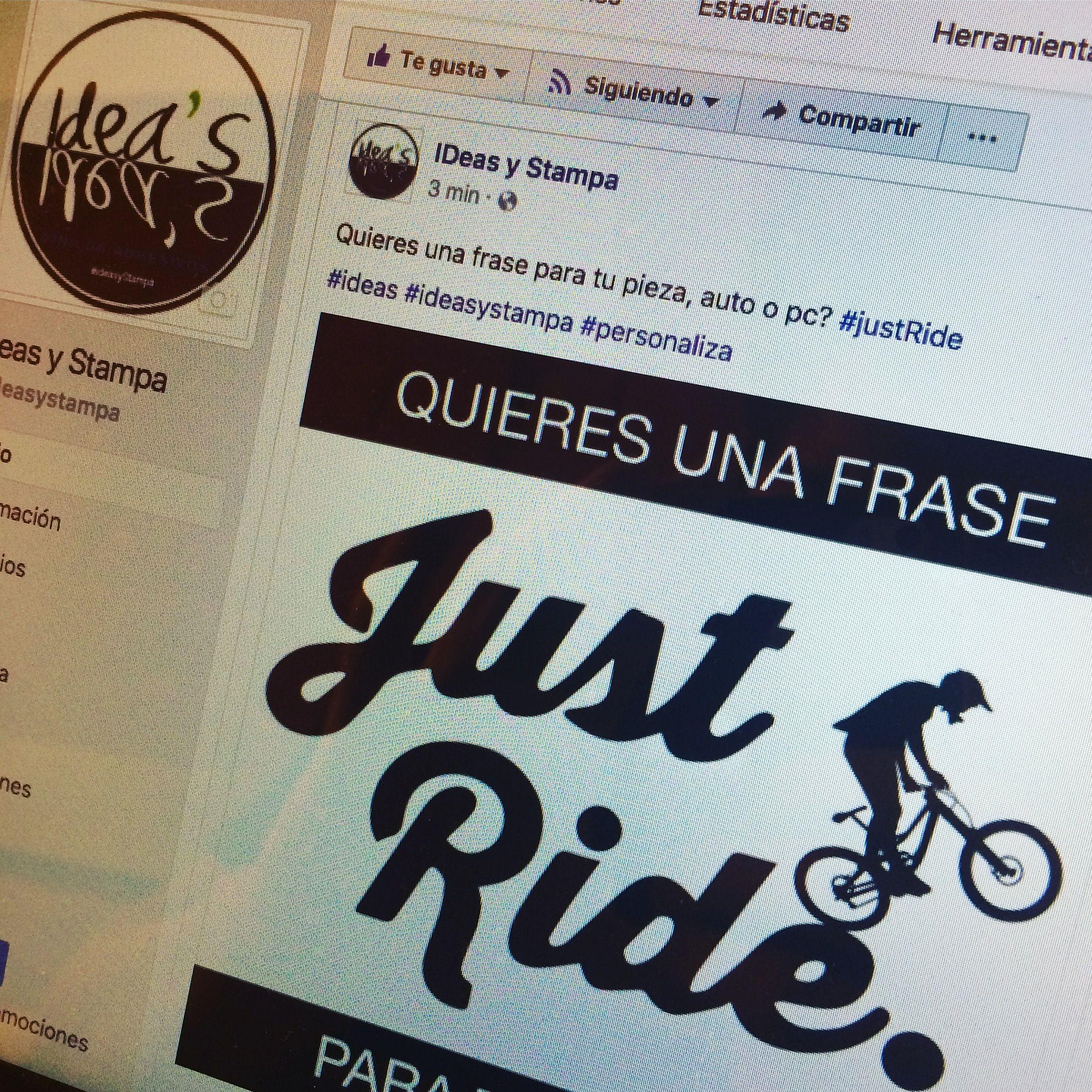 Siguenos en nuestro #facebookfanpage http://facebook.com/ideasystampa  #justride