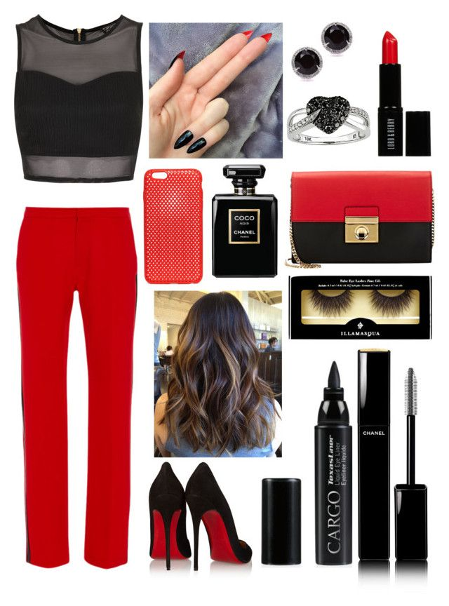 """""""Christian louboutin look"""" by ashleybieber97 ❤ liked on Polyvore featuring Clover Canyon, Christian Louboutin, Topshop, Milly, Lord & Berry, Chanel, AndMesh, Illamasqua, CARGO and Kobelli"""