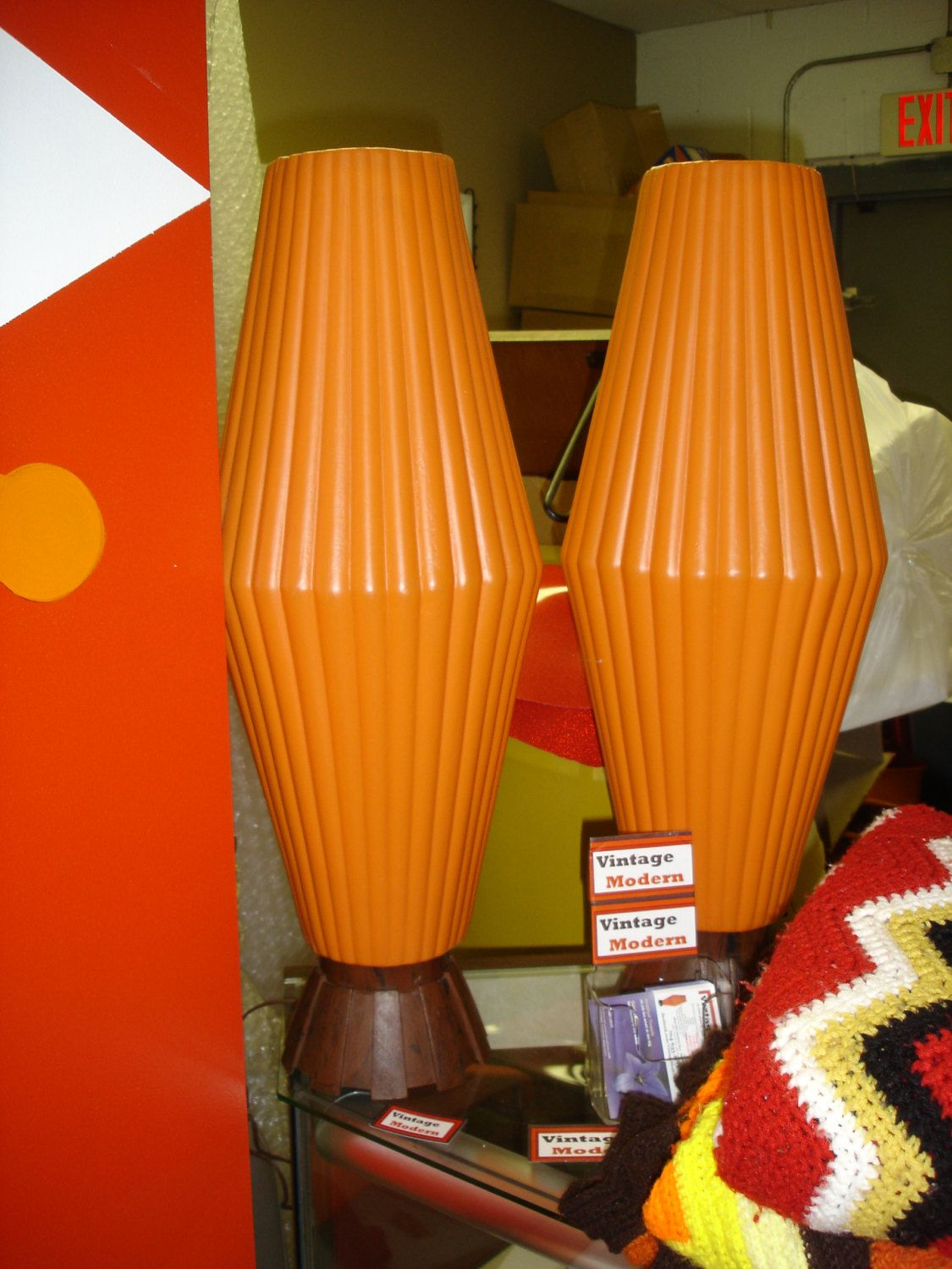 Rare Plastic Beehive Lamps Ribbed Orange Retro Atomic Awesomeness. $250.00,  via Etsy.