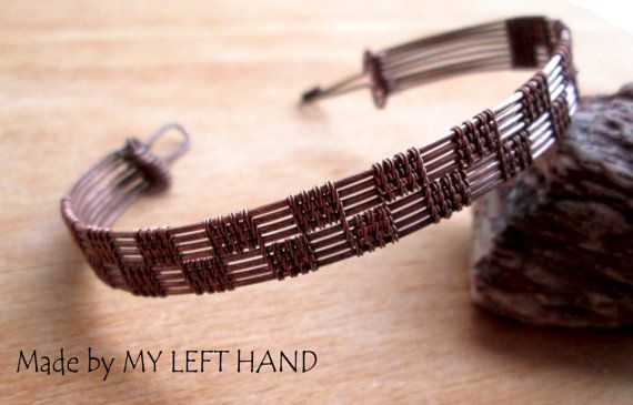 Mens Bracelet Wire Wrapped Men Copper Bracelet by MadeByMyLeftHand