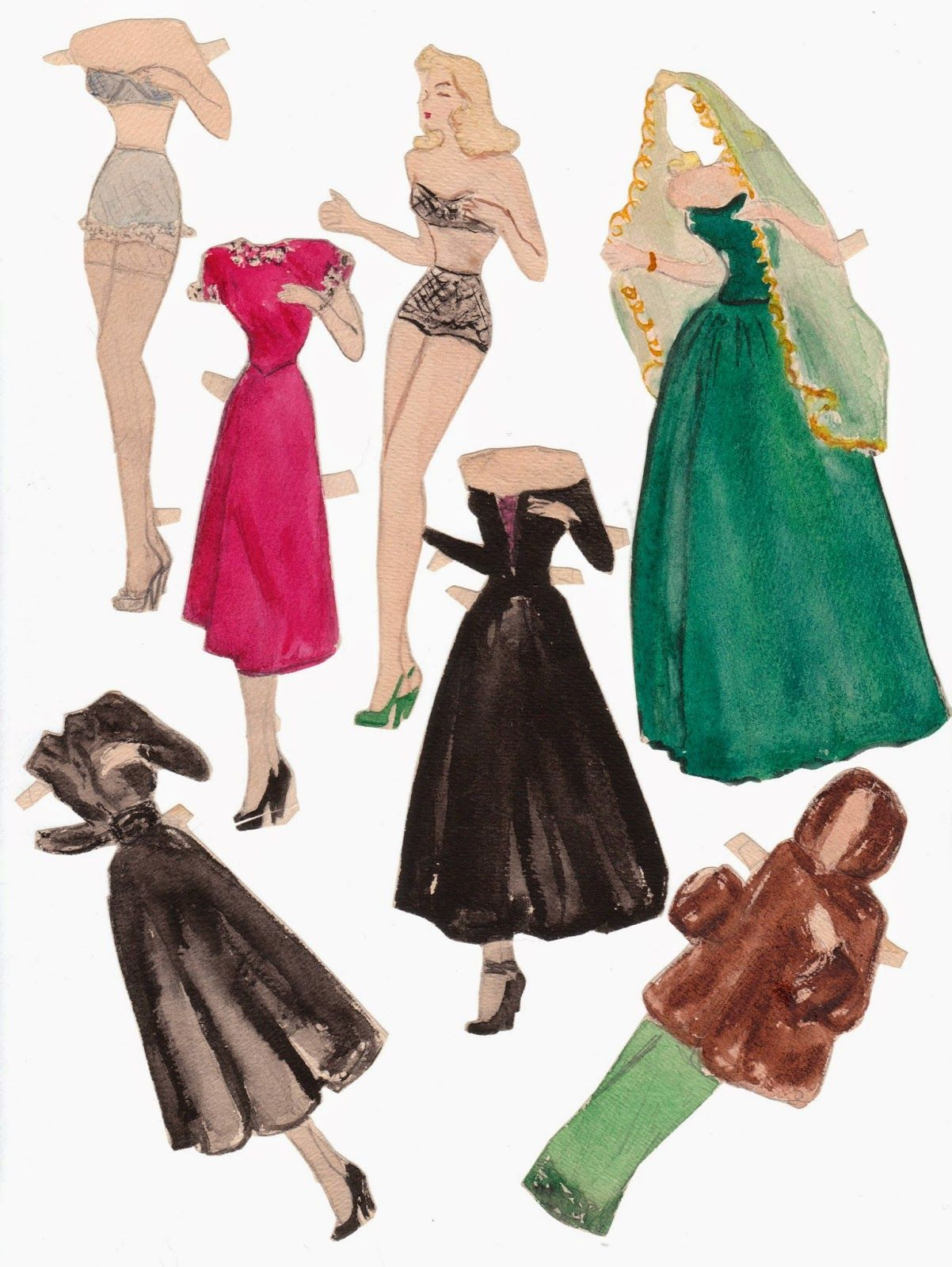 The Paper Collector Handmade Paper Doll C 1940s Paper Dolls Vintage Paper Dolls Handmade Paper