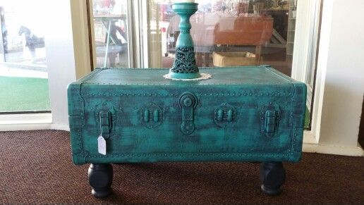 I painted this old trunk with Annie sloan graphite and then dry brushed with Florence. I added legs and lefted them graphite for contrast.
